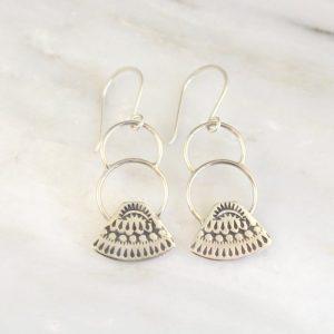 Asmi Triangle Double Loop Earrings Sarah Deangelo