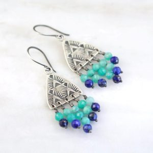 Navajo Triangle Amazonite and Lapis Earrings by Sarah DeAngelo