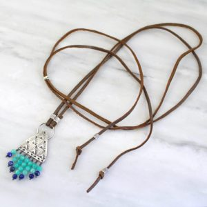 South West Amazonite and Lapis Leather Necklace Sarah Deangelo