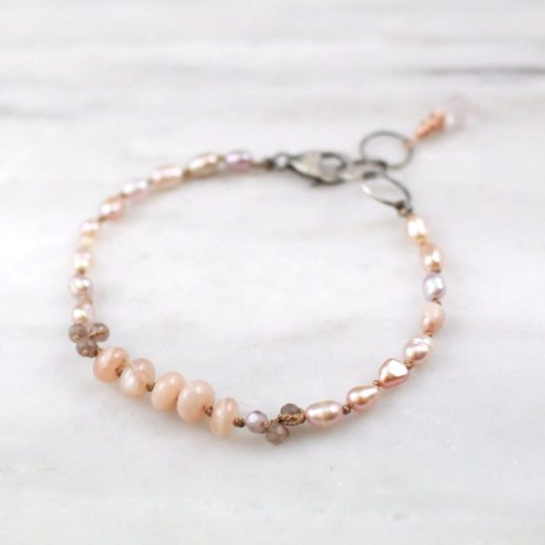 Pink Pearl and Peach Moonstone Knotted Bracelet Sarah Deangelo