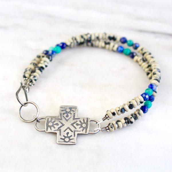 Sun Cross Double Strand Bracelet by Sarah Deangelo