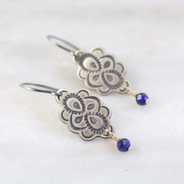 Peacock Mandala Lapis Dangle Earrings by Sarah Deangelo
