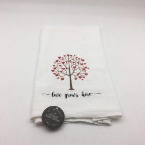 Love Grows Here Tea Towel Indigo Tangerine