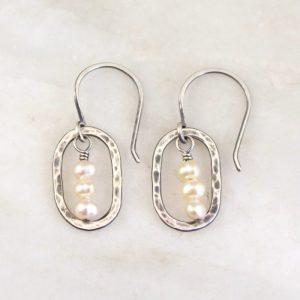 Stacked Pearls Mini Hoop Earrings Sarah Deangelo