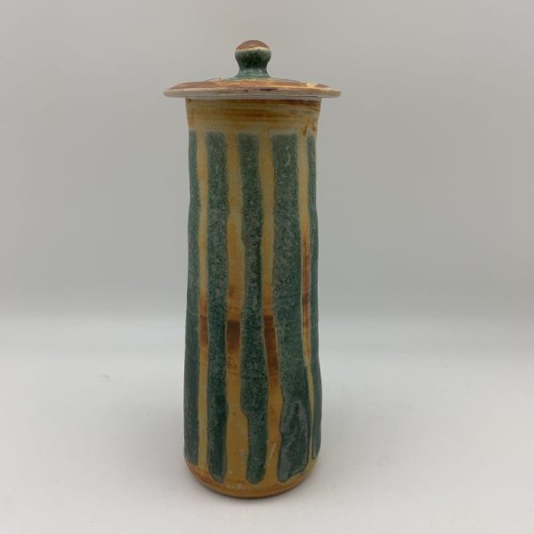 Tall Striped Jar by Margo Brown - 1995