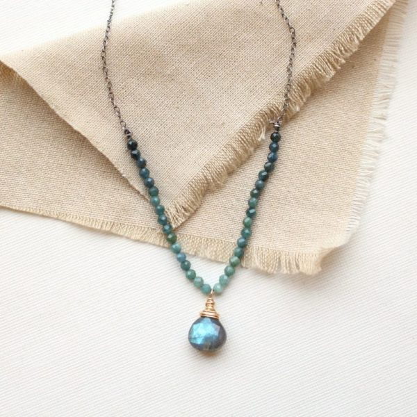 Blue Tourmaline & Labradorite Knotted Necklace Sarah Deangelo