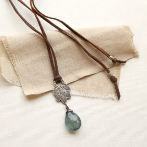 Hishi Moss Aquamarine Leather Necklace Sarah Deangelo
