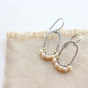 Pearl Wrapped Hammered Mixed Metal Earrings Sarah Deangelo
