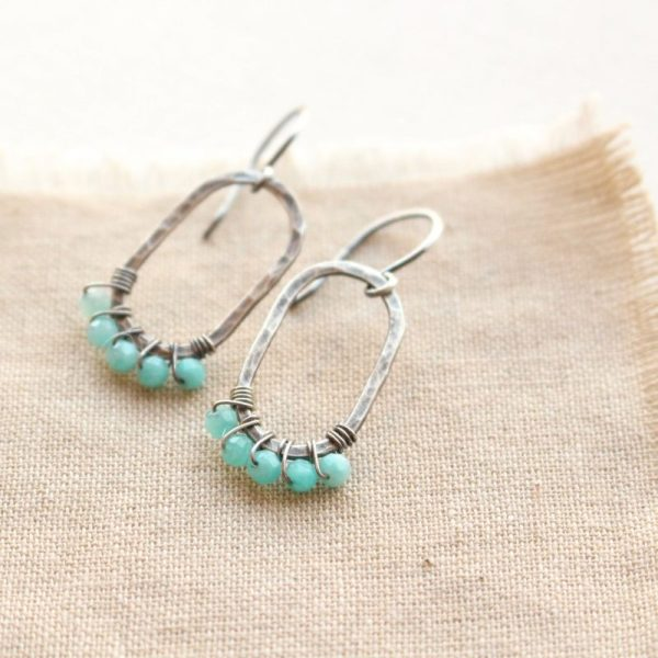 Amazonite Wrapped Hammered Earrings Sarah Deangelo