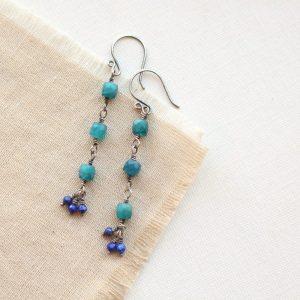 Apatite & Lapis Long Earrings Sarah Deangelo