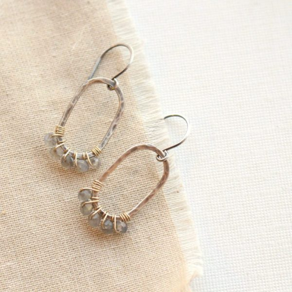 Labradorite Wrapped Hammered Mixed Metal Earrings Sarah Deangelo