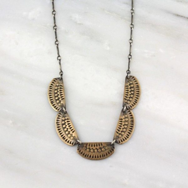 Asmi 5 Collar Bronze and Oxidized Silver Necklace Sarah Deangelo