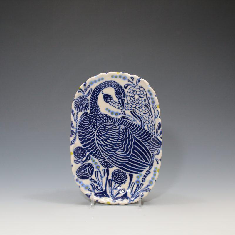 Blue Goose & Snake Butter Plate - 1 Sue Tirrell