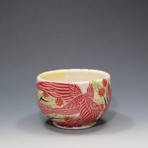 "Wheel-thrown porcelain with underglazes by Sue Tirrell. 5.25"" x 5.25"" x 3.5"""