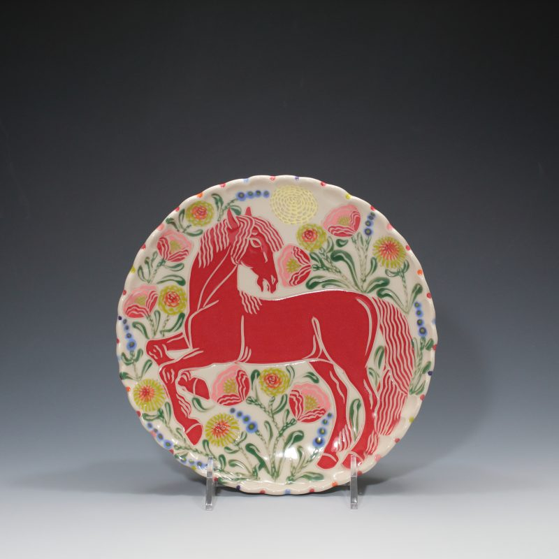 Red Horse Lunch Plate Sue Tirrell