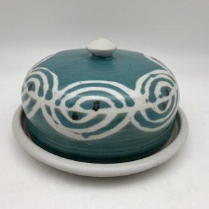 Turquoise and White Butter Dish by Margo Brown - 2205