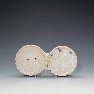 Snowy Owl & Hare Condiment Dish Sue Tirrell