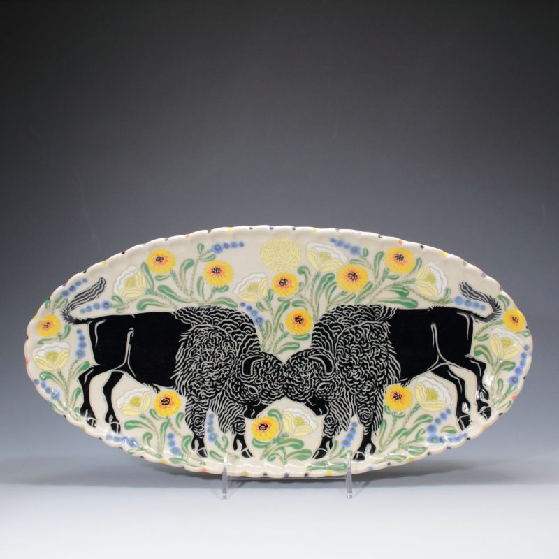 Double Bison Platter Sue Tirrell