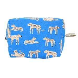Medium Cosmetic Bag by Dana Herbert - Periwinkle Tiger