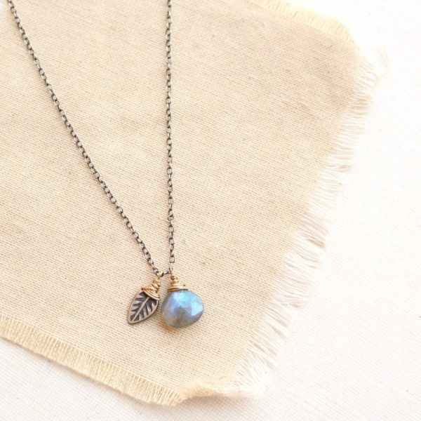 Leaf & Labradorite Mixed Metal Charm Necklace by Sarah Deangelo
