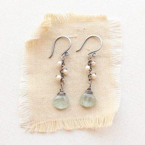 Moss Aquamarine & Pearl Bud Vine Earrings Sarah Deangelo