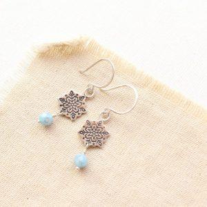 Snowflake & Aquamarine Earrings