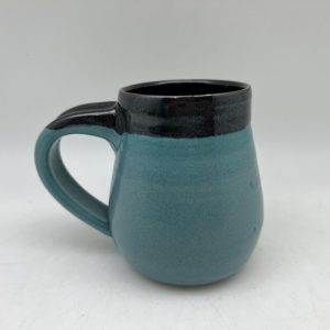 Turquoise Mug With Black Rim by Margo Brown - 2569