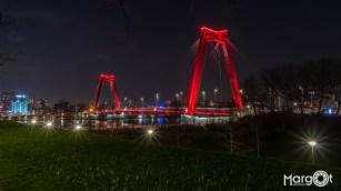 De Willemsbrug vanaf het dijkje vlakbij de Hef - Rotterdam