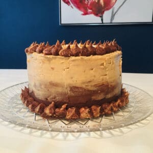 Fluffy Banana Cake with Chocolate and Peanut Butter Frosting