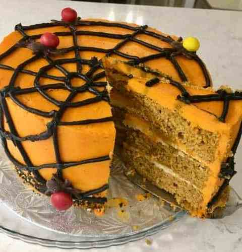 spiderweb pumpkin layer cake