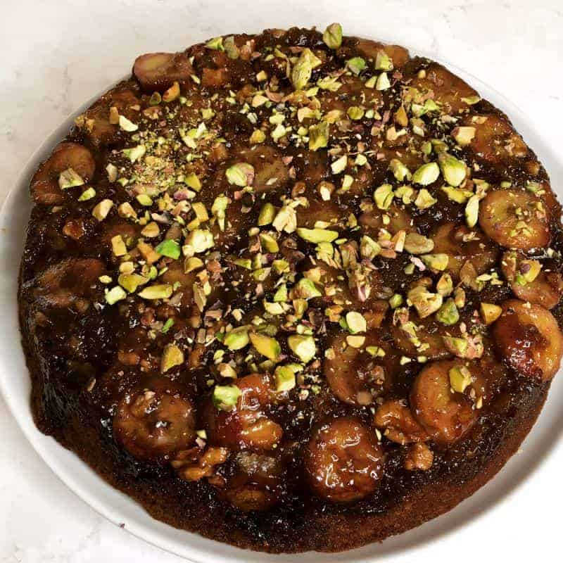 chai spiced banana upside down cake