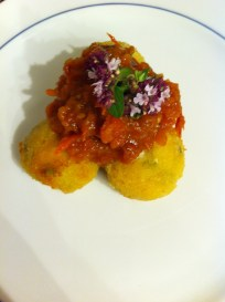 Arancini with roasted tomato sauce