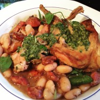 Rabbit, chorizo and cannellini bean stew with watercress salsa verde