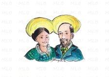 Saints Louis et Zélie Martin - encre de Chine, aquarelle