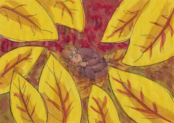 Couleurs d'automne - dessin au feutre noir, couleurs végétales et café sur papier kraft