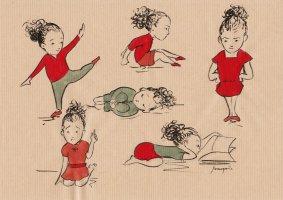Etude de personnage, fillette - encre de Chine et encres végétales sur papier kraft