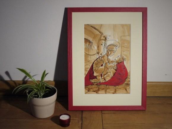 Saint Martin de Tours donnant la moitié de son manteau à un pauvre - illustration au café, à l'encre de Chine et à l'encre végétale
