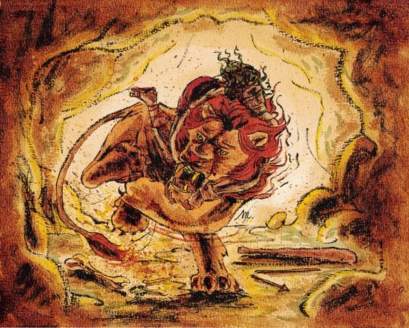Héraclès et le Lion de Némée - Illustration - Café, encre de Chine, pigments et encres végétales