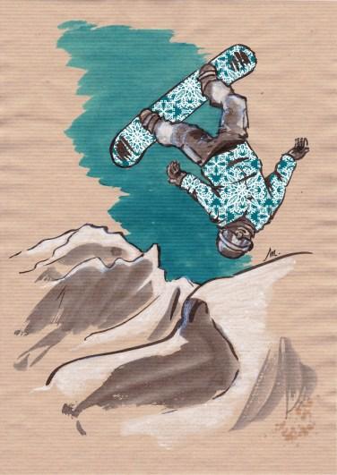 Snowboard - encres sur papier kraft, motifs numériques (Clip Studio Paint).