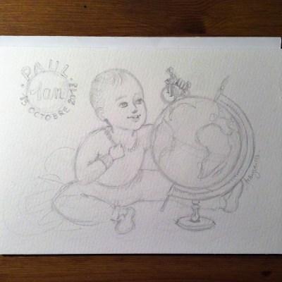 Paul 1 an - cadeau personnalisé - crayonné