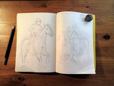 Horse-ball - croquis préparatoires