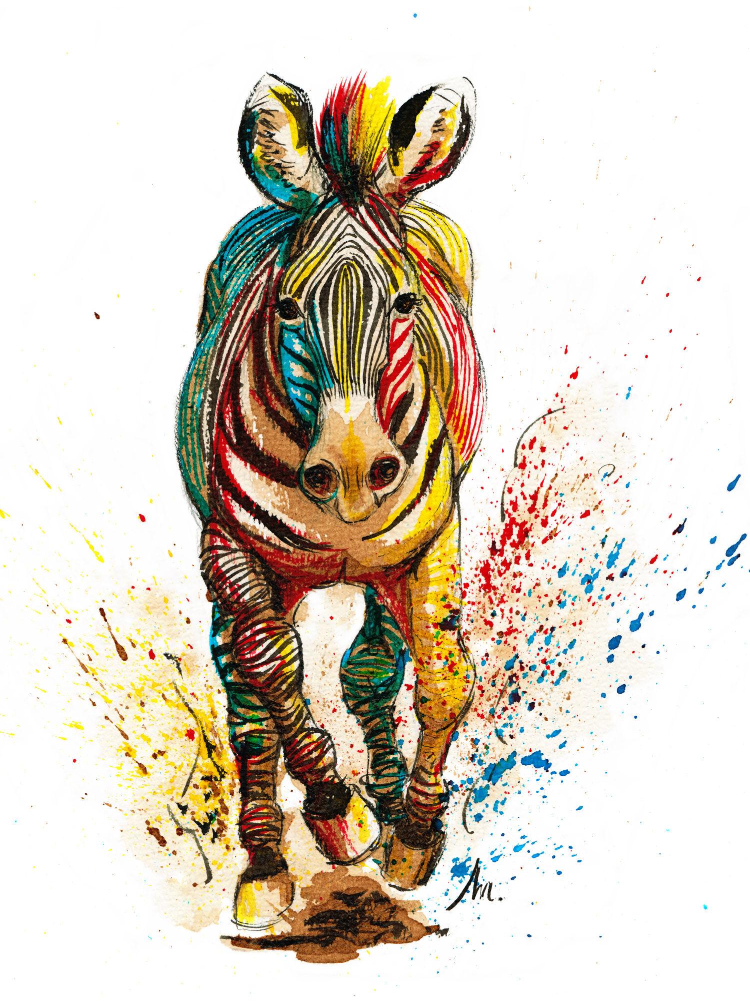 Petit bestiaire d'espèces menacées : zèbre de Grévy - illustration