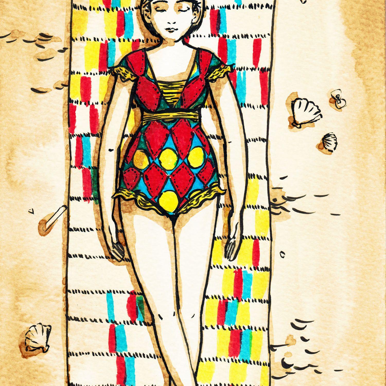 Femme en tenue de bain - illustration