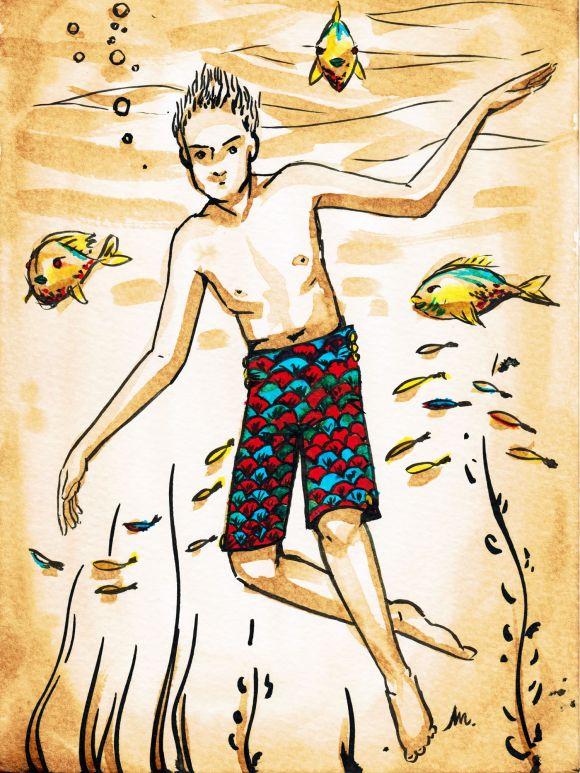 Homme en tenue de bain - illustration