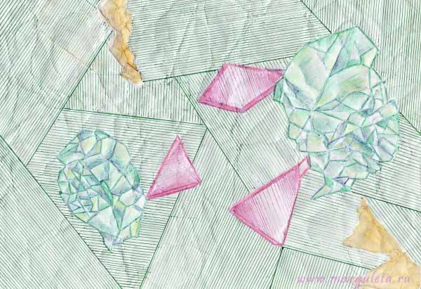 кристаллы, бумага мятая, рисунки, Светлана Згурская