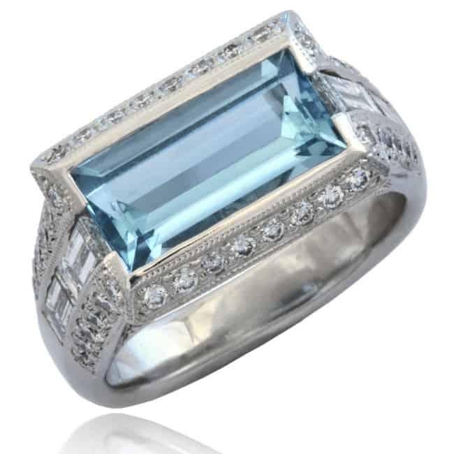 Aquamarine & Diamond Ring Image