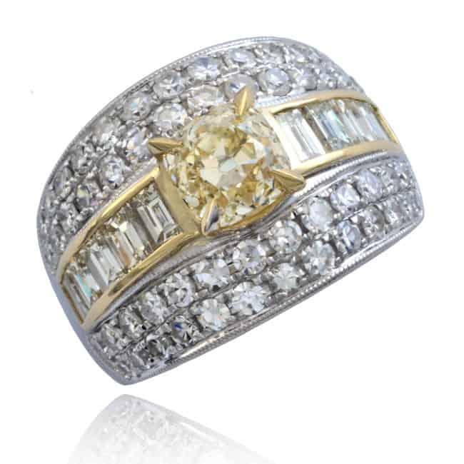 Square Cut Yellow Diamond Ring Image