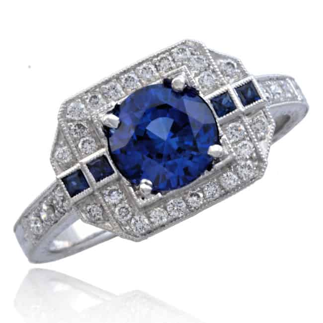 Blue Sapphire & Diamond Ring Image