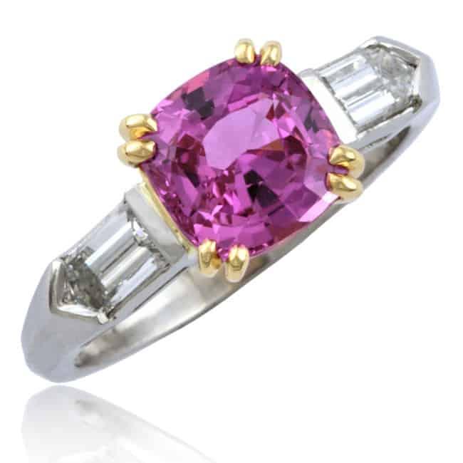 Pink Sapphire & Diamond Ring Image