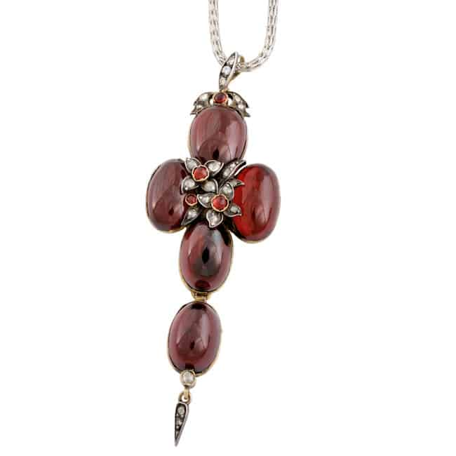 Scottish Red Garnet Cross Pendant Image